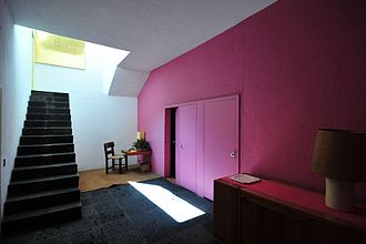 Luis Barragán House and Studio - Vestibule showing some characteristic features of Barragán's work: his use of natural light, geometric forms, pure colors and staircases without railings.