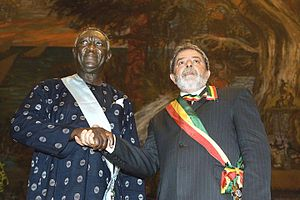 New Patriotic Party - John Kufuor (left) with the  President of Brazil, Lula da Silva (right).