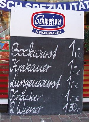Kohlwurst - Lungenwurst in a butcher's offer in Schwerin