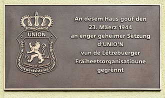 Unio'n - Luxembourg-Bonnevoie: plaque commemorating the creation of the Unio'n.