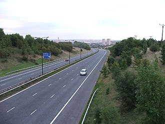 M621 motorway - Looking north east with Leeds in the distance