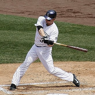 Justin Morneau - Morneau batting with the Colorado Rockies