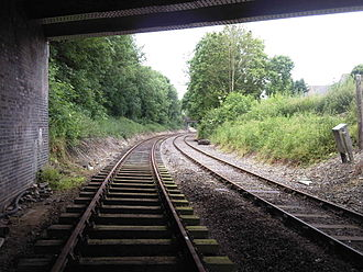 Double-track railway - Partially restored double-track section south of Wymondham Abbey, Norfolk, UK on the Mid-Norfolk Railway