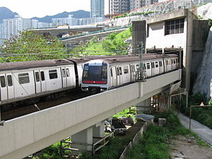 Kwun Tong Line - Metro-Cammell trains on a viaduct near Kowloon Bay Station