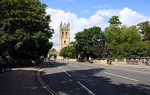 Magdalen Bridge - View of the bridge looking towards central Oxford with Magdalen Tower in the background.