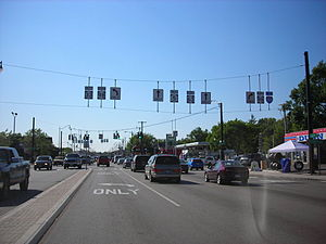 New York State Route 33 - Main Street westbound at NY 98 in Batavia