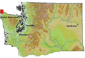 Makah Reservation - Location of Makah Reservation in relation to Washington