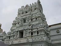 Detail of Malibu Hindu Temple in California.