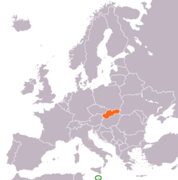 Map indicating locations of Malta and Slovakia