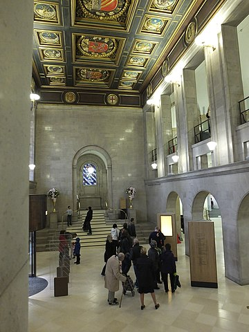 The Shakespeare Hall entrance in 2014. Manchester Central Library 2014 re-opening 7891.JPG