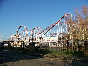 M&D's - pictured is the Tornado, the park's largest roller coaster