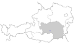 Map of Austria, position of Judenburg highlighted
