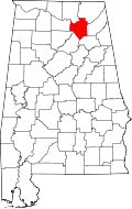 Map of Alabama highlighting Marshall County