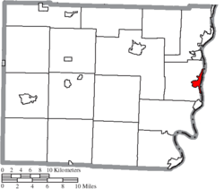 Location of Bellaire in Belmont County