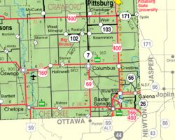 Cherokee County Zip Code Map.Columbus Kansas Wikipedia
