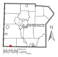 Map of Enon Valley, Lawrence County, Pennsylvania Highlighted.png