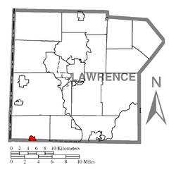 Location of Enon Valley in Lawrence County