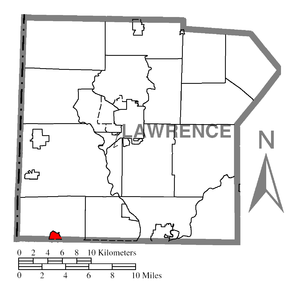 Map of Lawrence County higlighting Enon Valley.