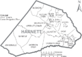Map of Harnett County North Carolina With Municipal and Township Labels.PNG
