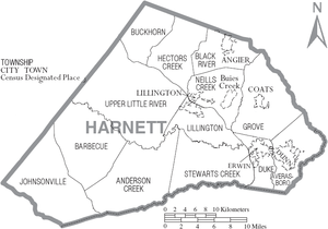 Harnett County, North Carolina - Map of Harnett County, North Carolina With Municipal and Township Labels