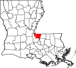 State map highlighting West Feliciana Parish