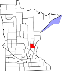 Map of Minnesota highlighting Isanti County