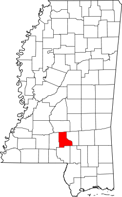 Map of Mississippi highlighting Jefferson Davis County.svg