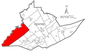 Rush Township, Centre County, Pennsylvania - Image: Map of Rush Township, Centre County, Pennsylvania Highlighted
