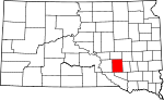 State map highlighting Aurora County