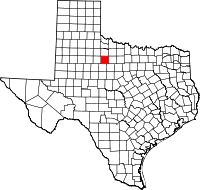 Map of Texas highlighting Haskell County