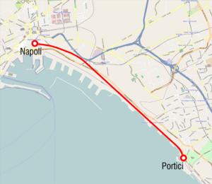 Naples–Portici railway - Image: Mappa Napoli Portici