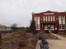 The former Atchison, Topeka and Santa Fe Railway depot in Marceline in February 2017, now as the Walt Disney Hometown Museum.