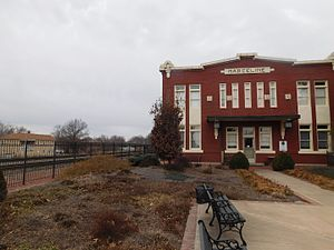 Marceline, Missouri - The former Atchison, Topeka and Santa Fe Railway depot in Marceline in February 2017, now as the Walt Disney Hometown Museum.