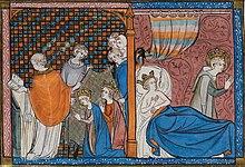 Miniature scindée en deux parties: la première montre Louis et Marguerite de Provence agenouillés devant l'évêque qui les marie; la seconde représente Marguerite allongée et Saint Louis priant à côté du lit conjugal.
