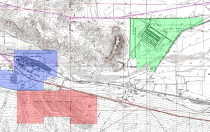 Marine Corps Logistics Base Barstow - Map of the location of the three units of MCLB. The Nebo Annex is blue, Yermo Annex is green, and the firing range is red.