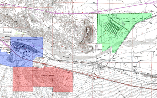 Map Of The Location Of The Three Units Of Mclb The Nebo Annex Is Blue Yermo Annex Is Green And The Firing Range Is Red