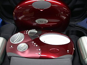 E-meter - The Scientology Mark VIII Ultra E-meter lying in its carry case. The device's protective cover is shown standing at the back.