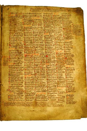Martyrology of Tallaght - Part of the copy of the Martyrology of Tallaght separated from the Book of Leinster and now at University College, Dublin