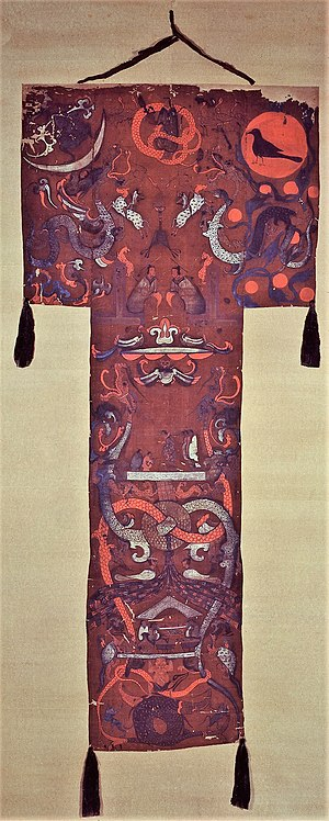 Mawangdui - Western Han painting on silk was found draped over the coffin in the grave of Lady Dai (c. 168 BC) at Mawangdui near Changsha in Hunan province.