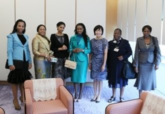 Mswati III - Some of his wives meeting the wife of the Japanese prime minister  in 2013