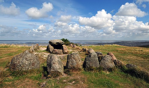 Megalithic grave Harhoog in Keitum, Sylt, Germany.