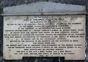 Coorg War - Memorial of Lieut. Col. Charles Mill, Coorg War, 1834, St. Mary's Church, Madras