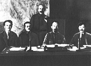 Cheka - Members of the presidium of VCheKa (left to right) Yakov Peters, Józef Unszlicht, Abram Belenky (standing), Felix Dzerzhinsky, Vyacheslav Menzhinsky, 1921