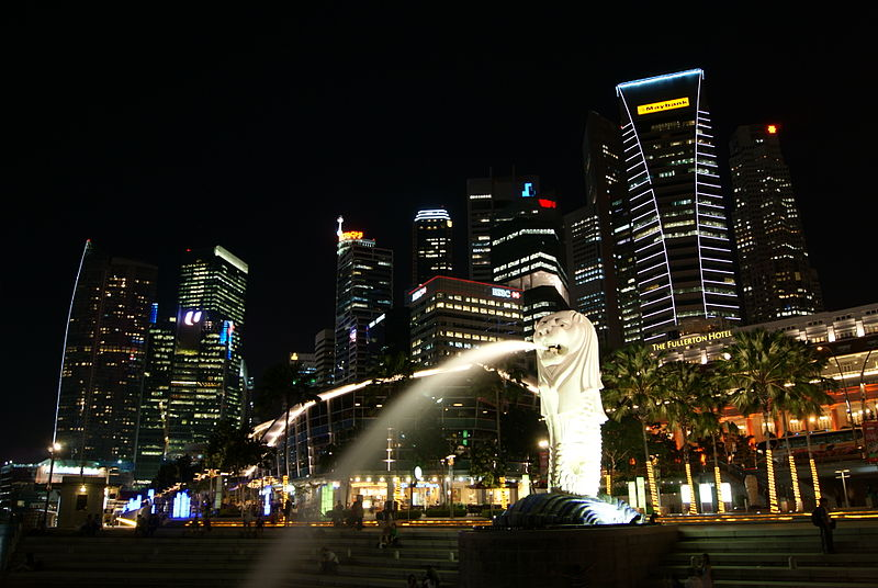 File:Merlion and the Singapore Skyline at Night.JPG