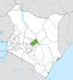 Location of Meru County (Green)