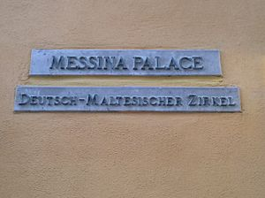 Messina Palace - Plaque of the palace and the German-Maltese Circle