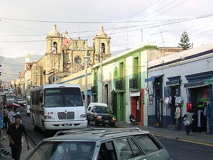 Calle Tinoco y Palacios, with the church of San Felipe Neri Mexico.Oax.Oaxaca.streets.01.jpg
