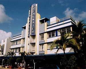 English: Breakwater Hotel, along Ocean Drive, ...