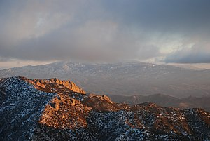 Mica Mountain - Image: Mica Mountain obscured by winter clouds panoramio
