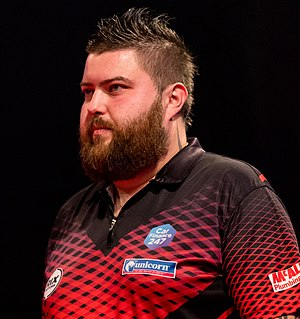 Michael Smith 6-3 Steve Lennon - Michael Smith - 2019249215712 2019-09-06 PDC European Darts Matchplay - 1108 - B70I6125 (cropped).jpg